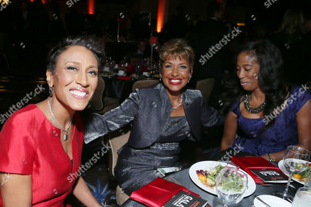 From left, Robin Roberts, Sally-Ann Roberts and Shondrella Avery attend the CoachArt Gala of Champions in Beverly Hills, Calif. on
