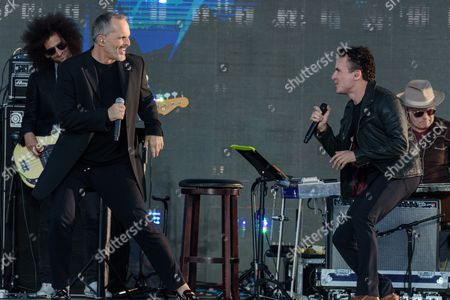 Miguel Bose, left, and Juan Fernando Fonseca perform at RiseUp As One at Cross Border Xpress, in San Diego