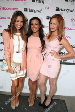 Michelle Marie, Angela Sun and Amy Paffrath at BOOBIES Breast Cancer Awareness Fundraiser hosted by StyleSeenDaily at Gavert Atelier Salon at, on in Los Angeles