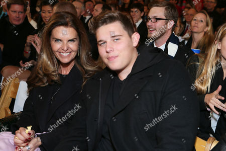 Maria Shriver and Christopher Schwarzenegger at The Grove's 11th Annual Christmas Tree Lighting Spectacular Presented By Citi at The Grove on in Los Angeles, California