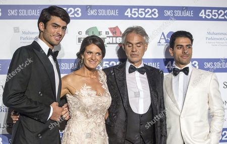 Stock Picture of Andrea Bocelli, wife Veronica with sons Amos and Matteo Bocelli