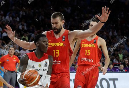 Germany's Dennis Schroder, left, drives to the basket as Spain's Marc Gasol tries to block him during their Eurobasket European Basketball Championship quarter final match in Istanbul, Tuesday, Sept. 12. 2017