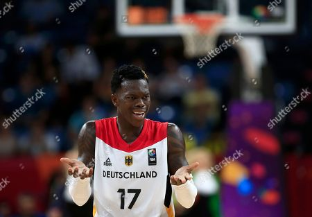 Germany's Dennis Schroder reacts during their Eurobasket European Basketball Championship quarter final match against Spain, in Istanbul, Tuesday, Sept. 12. 2017
