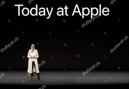 Angela Ahrendts, Apple's Senior Vice President of Retail, discusses updates at Apple Stores before a new product announcement at the Steve Jobs Theater on the new Apple campus, in Cupertino, Calif