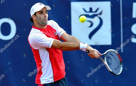 Guillermo Duran of Argentina returns the ball to Jerzy Janowicz of Poland during their first round match at the Challenger ATP Pekao Open tennis tournament in Szczecin, Poland, 12 September 2017.