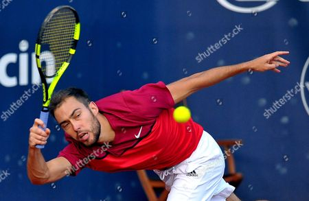 Stock Picture of Jerzy Janowicz of Poland returns the ball to Guillermo Duran of Argentina during their first round match at the Challenger ATP Pekao Open tennis tournament in Szczecin, Poland, 12 September 2017.