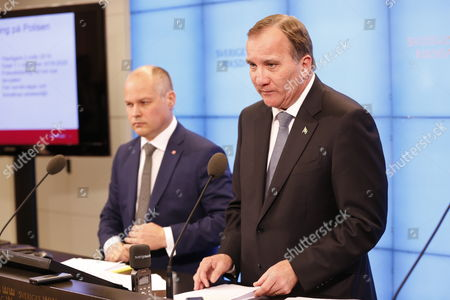 Stefan Löfven, Prime Minister, Morgan Johansson, Minister for Justice and Home Affairs, Press conference with Swedish PM, Riksdagen, Stockholm