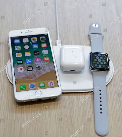 The new AirPower wireless charger is displayed in the showroom after the new product announcement at the Steve Jobs Theater on the new Apple campus, in Cupertino, Calif