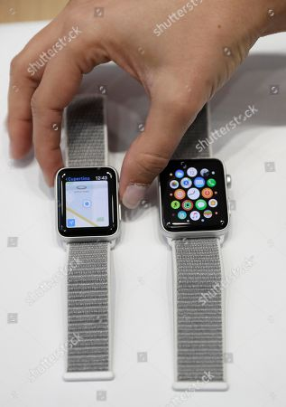 The new Apple Watch Series 3 is displayed in the showroom after the new product announcement at the Steve Jobs Theater on the new Apple campus, in Cupertino, Calif
