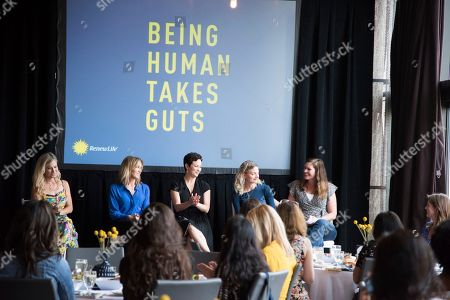 "Stock Picture of Emmy-nominated actress Felicity Huffman joined a panel of women, including Ellie Krieger, RDN, a NY Times best-selling cookbook author and host of ""Ellie's Real Good Food"", and Amanda Quinones, a model and creator of @lifewithmicah, and Katie Keil, marketing director for Renew Life, at the Power Your Potential panel discussion moderated by Cat Greenleaf, NBC and USA Network's ""Talk Stoop"" host at Gansevoort Park Ave NYC on in New York, and applauded Renew Life Probiotics for its commitment of $100,000 to fund gut health research"