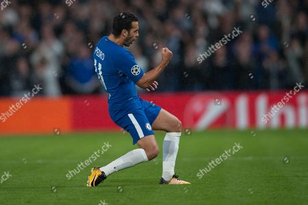 Alexandre Pato of Chelsea celebrates his goal and the first for Chelsea. UEFA Champions League Group C, Match One, Chelsea v Qarabag FK, Stamford Bridge, London, United Kingdom, 12th September 2017