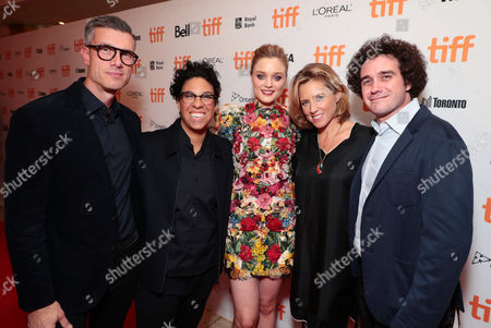 Stock Image of Joe Matukewicz, Executive Vice President of Acquisitions for Sony Pictures Worldwide Acquisitions, Angela Robinson, Writer/Director, and Bella Heathcote, Amy Redford, Producer, and Terry Leonard, Producer