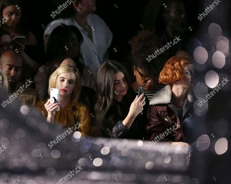 Selina Gomez, Charli XCX, Kacy Hill. Actress Emma Roberts, from left, singer Charli XCX and model Kacy Hill attend the Coach 2018 Spring/Summer Presentation, in New York