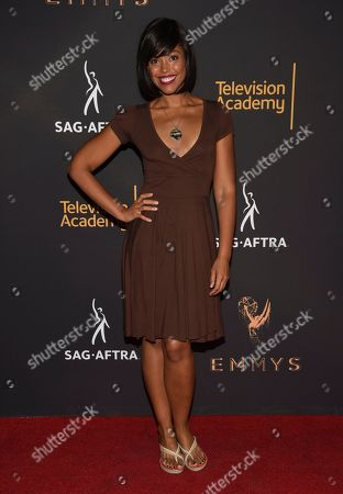 Karla Mosley arrives at the 2017 Dynamic and Diverse Emmy Nominee Reception presented by the Television Academy, at the Saban Media Center in North Hollywood, Calif