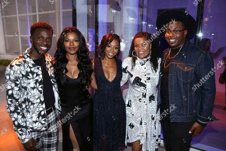 Bernard David Jones, Keesha Sharp, Bresha Webb, Yvette Nicole Brown, Marcel Spears. Bernard David Jones, from left, Keesha Sharp, Bresha Webb, Yvette Nicole Brown, and Marcel Spears attend the 2017 Dynamic and Diverse Emmy Nominee Reception presented by the Television Academy, at the Saban Media Center in North Hollywood, Calif