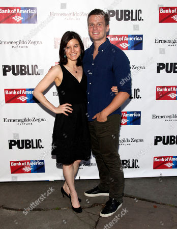 """Actress Susan Pourfar, left, and Jonathan Groff, right, attend the opening night of """"King Lear"""", in New York"""