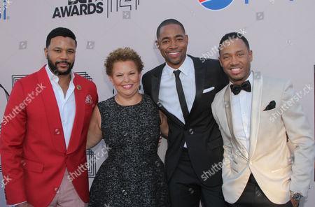 "Hosea Chanchez, Debra L. Lee, Jay Ellis, and Terrence Jenkins at the ""PRE"" BET Awards Dinner at Milk Studios, in Los Angeles, Calif"