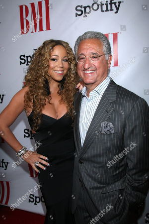 Mariah Carey and Del Bryant, BMI President & CEO at the 2012 BMI Urban Awards, in Beverly Hills, Calif