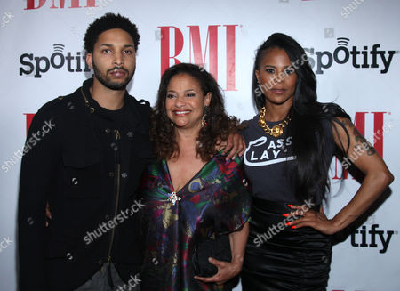Norman Nixon Jr., Laurieann Gibson and Debbie Allen arrive at the BMI Urban Awards honoring Mariah Carey held at the Saban theatre, in Beverly Hills, Calif