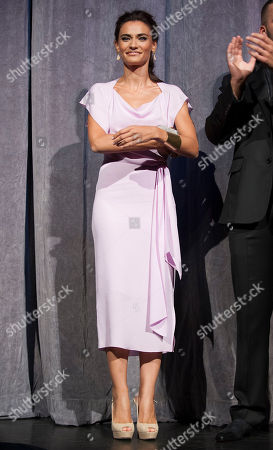 "Actress Saadet Aksoy arrives at the premiere for the film ""Twice Born"" at Roy Thomson Hall during the Toronto International Film Festival, in Toronto"