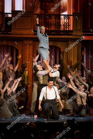 """Ricky Martin and Elena Roger perform with the cast of """"Evita"""" at the 66th Annual Tony Awards, in New York"""