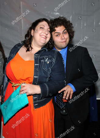 2013 FOX Programming Presentation Post Party NEW YORK, CA - MAY 13: Dustin Ybarra and Ashlie Atkinson is seen in the green room at the 2013 FOX Programming Presentation at Citrus Restaurant on in New York, New York