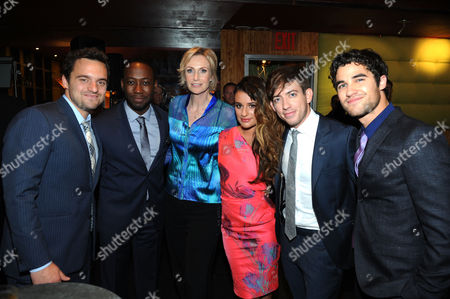 NEW YORK, CA - MAY 13: (L-R) Jake Johnson, Lamorne Morris, Jane Lynch, Lea Michele, Kevin McHale, and Darren Criss is seen in the green room at the 2013 FOX Programming Presentation at Citrus Restaurant on in New York, New York. (Photo by Brad Barket/Invision for FOX/AP Images