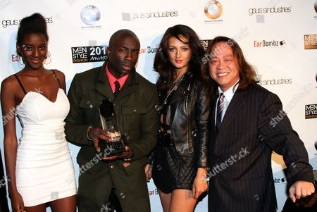 """Cast members of The Chosen One Zeta Morrison. Sam Sarpong Inessa Alex and manager of BMW of Beverly Hills Cliff Nguyen seen at 2013 Men's Style Fashion Awards honoring Sam Sarpong """"Star of The Year"""" at Fatty's Bar and Restaurant on Saturday, Dec.21, 2013, in West Hollywood. California"""