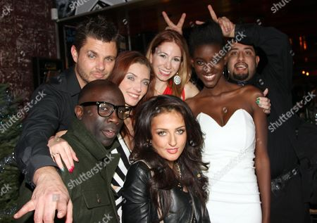 """Cast and crew of The Chosen One (L-R front) Sam Sarpong, Inessa Alex, Zeta Morrison, Daniel Gonzalez and friends seen at 2013 Men's Style Fashion Awards honoring Sam Sarpong """"Star of The Year"""" at Fatty's Bar and Restaurant on Saturday, Dec.21, 2013, in West Hollywood. California"""