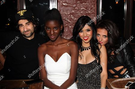 """Producer and director Kenneth Kokin, Zeta Morrison, Patricia Vega and Inessa Alex seen at 2013 Men's Style Fashion Awards honoring Sam Sarpong """"Star of The Year"""" at Fatty's Bar and Restaurant on Saturday, Dec.21, 2013, in West Hollywood. California"""
