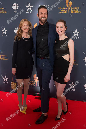 Actress Azura Skye, actor Benjamin Arthur and actress Kacey Rohl pose on the red carpet at the 2014 Canadian Screen Awards on in Toronto, Canada