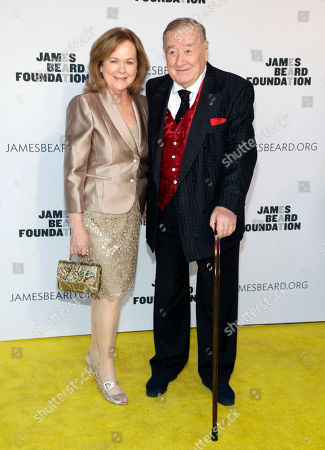 Stock Picture of President of the James Beard Foundation Susan Ungaro, left, and restauranteur Sirio Maccioni, right, attend the 2014 James Beard Foundation Awards, in New York