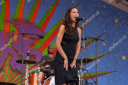 Amanda Sudano of Johnnyswim with touring band perform at the New Orleans Jazz and Heritage Festival in New Orleans on