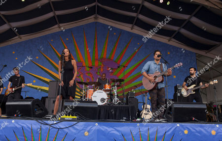 Amanda Sudano and Abner Ramirez of Johnnyswim with touring band perform at the New Orleans Jazz and Heritage Festival in New Orleans on