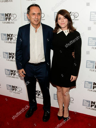 """Joshua Blum, left, and Brandy Burre, right, attend a screening of """"Listen Up Philip"""" at the New York Film Festival on in New York"""