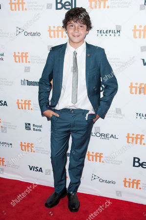 """Actor Noah Lomax seen at the premiere of """"99 Homes"""" at the Princess of Wales Theatre during the 2014 Toronto International Film Festival, in Toronto, Ontario"""