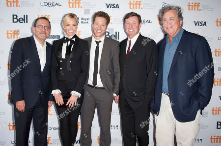 "Co-President of Sony Pictures Classics Michael Barker, Janet Jones, director Gabe Polsky, Wayne Gretzky and Co-President of Sony Pictures Classics Tom Bernard seen at the premiere of ""Red Army"" at the Ryerson Theatre during the 2014 Toronto International Film Festival, in Toronto, Ontario"