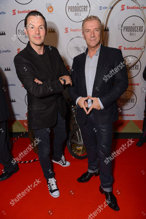Colin McAllister, left, and Justin Ryan attend the Producers Ball at the Royal Ontario Museum, in Toronto