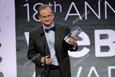 Stock Picture of Legal professor Lawrence Lessig accepts the award for lifetime achievement at the 2014 Webby Awards, in New York