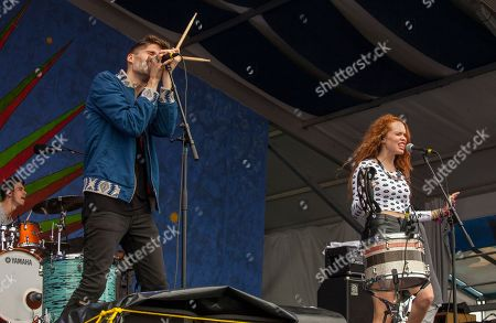Gary Larsen and Nora Patterson perform with Royal Teeth at the New Orleans Jazz & Heritage Festival, on in New Orleans