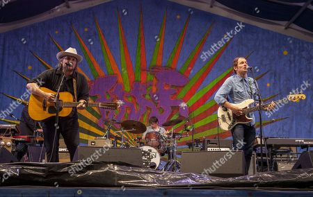 Jeff Tweedy, Glenn Kotche and John Stirratt perform with Wilco at the New Orleans Jazz & Heritage Festival, on in New Orleans