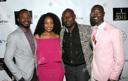 Stock Picture of L-R) Actors OC Ukeje, Terry Pheto, Jimmy Jean-Louis and Rodney Charles seen at 2015 AMAA Nominations Dinner at H.O.M.E., in Beverly Hills, Calif