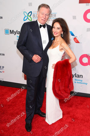 """Helmut Huber, left, and Susan Lucci, right, attend the Elton John AIDS Foundation's 14th Annual """"An Enduring Vision"""" Benefit at Cipriani Wall Street, in New York"""