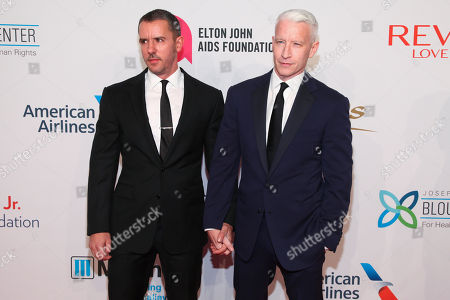 "Stock Photo of Benjamin Maisani, left, and Anderson Cooper, right, attend the Elton John AIDS Foundation's 14th Annual ""An Enduring Vision"" Benefit at Cipriani Wall Street, in New York"