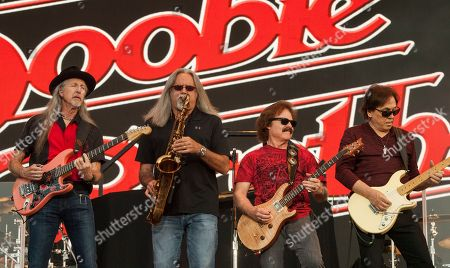 Patrick Simmons, Marc Russo, Tom Johnston and John McFee of The Doobie Brothers seen at the Le Festival d'ete de Quebec on in Quebec City, Canada