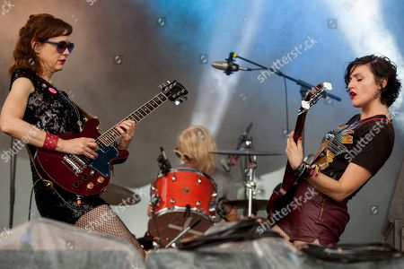 Mary Timony, Laura Harris and Betsy Wright of Ex Hex seen at the 2015 Pitchfork Music Festival, on in Chicago