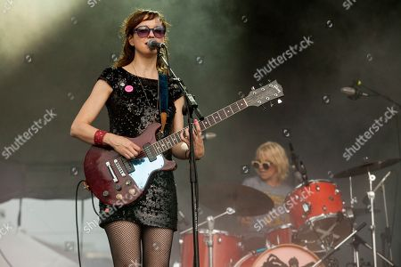 Mary Timony and Laura Harris of Ex Hex seen at the 2015 Pitchfork Music Festival, on in Chicago