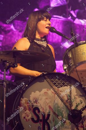 Stock Picture of Janet Weiss of Sleater-Kinney seen at the 2015 Pitchfork Music Festival, on in Chicago