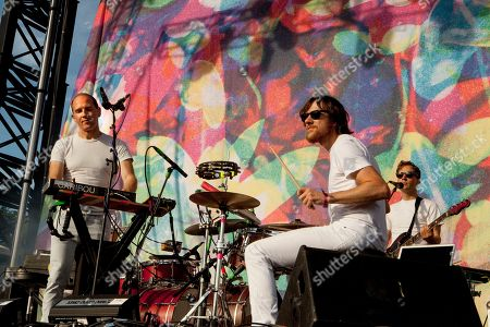 On left on keyboards, Dan Snaith performs with bandmembers of Caribou at the 2015 Pitchfork Music Festival, on in Chicago