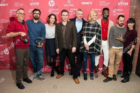 """Stock Photo of From left, Sundance Film Festival Director John Cooper, director Andrew Bujalski, actress Cobie Smulders, actors Kevin Corrigan and Andrew Michael Hall, actress Brooklyn Decker, actors Tishuan Scott and Giovanni Ribisi and actress Constance Zimmer attend the """"Results"""" premiere during the 2015 Sundance Film Festival, in Park City, Utah"""